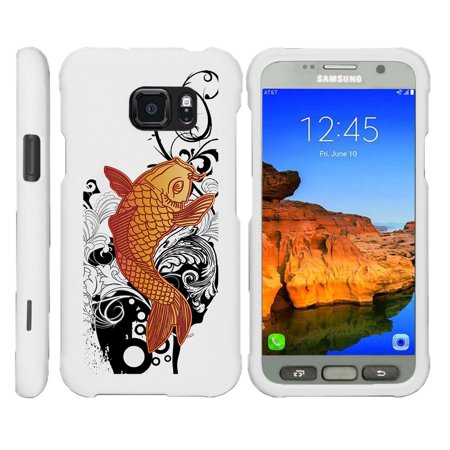 Samsung Galaxy S7-ACTIVE G891A, [SNAP SHELL][White] 2 Piece Snap On Rubberized Hard White Plastic Cell Phone Case with Exclusive Art -  Koi - Fish Mobile