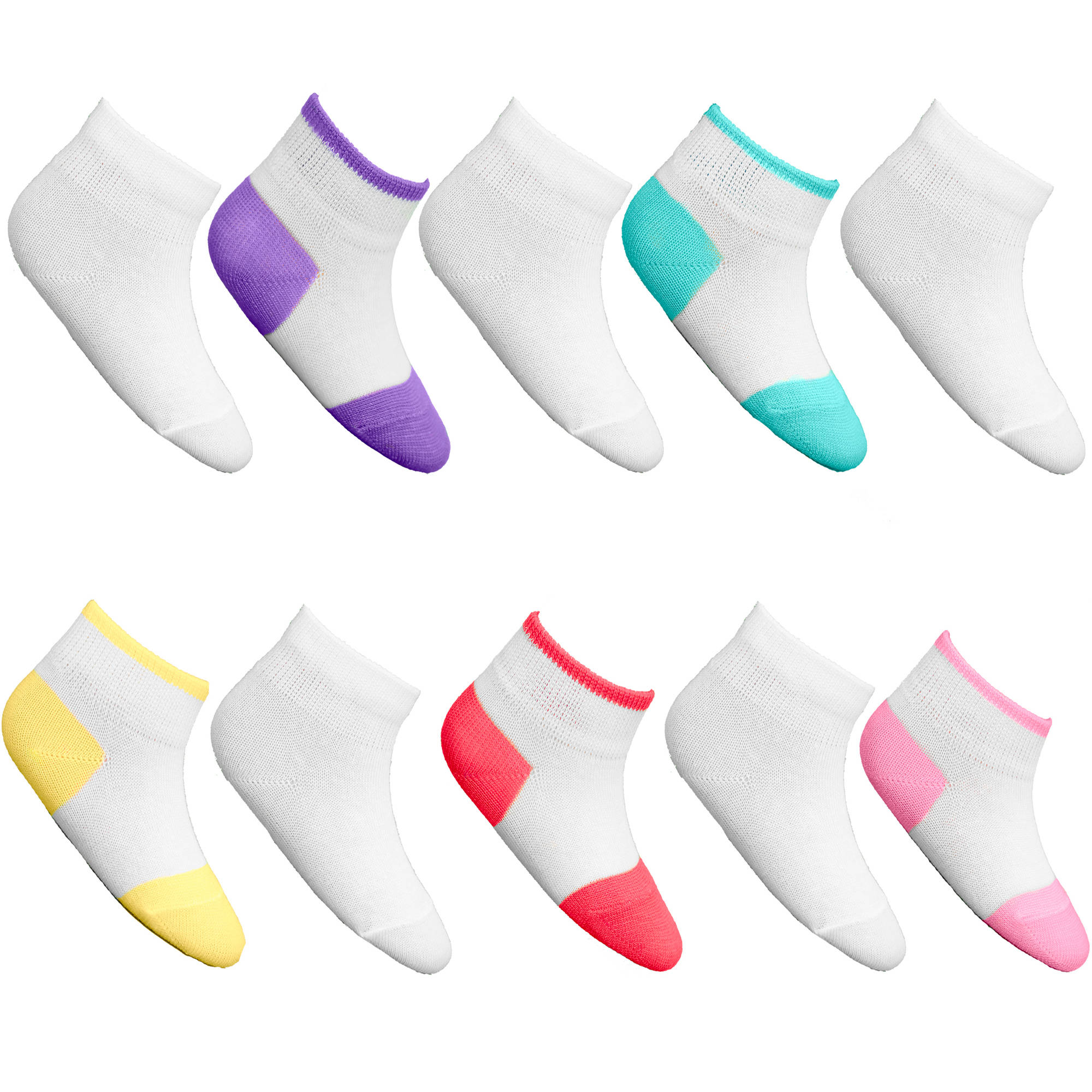 Fruit of the Loom Baby Girl Tuff n' Comfy Low Cut Socks - 10 Pack