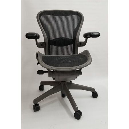 - Herman Miller Aeron Chair Size B Fully Featured Gray Frame Black Mesh, Executive Office Chair