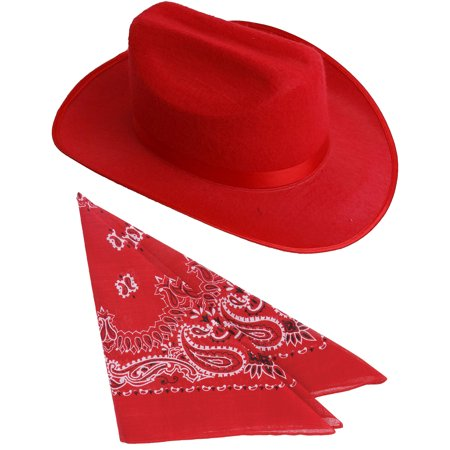 Kids Red Cowboy Outlaw Felt Hat And Bandana Play Set Costume - Costume Cowboy Hat