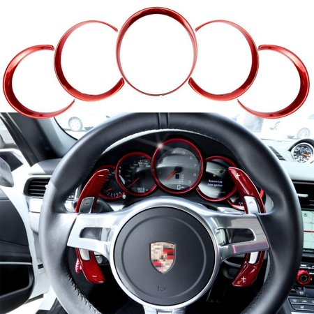 Abs Ring (Xotic Tech 5pcs ABS Anodized Dashboard Meter Ring Instrument Frame Trim Covers for Porsche Cayenne 958 2011-2018 Panamera 976 2010-2016 Porsche 911 991 2013-2018 Red )