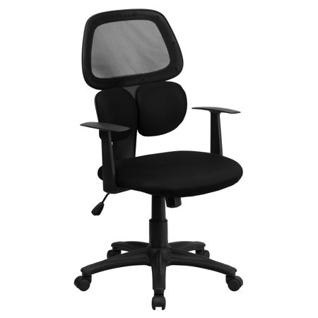 "42.250"" Black Mid-Back Black Swivel Task Office Chair with Flexible Dual Lumbar Support and Arms"