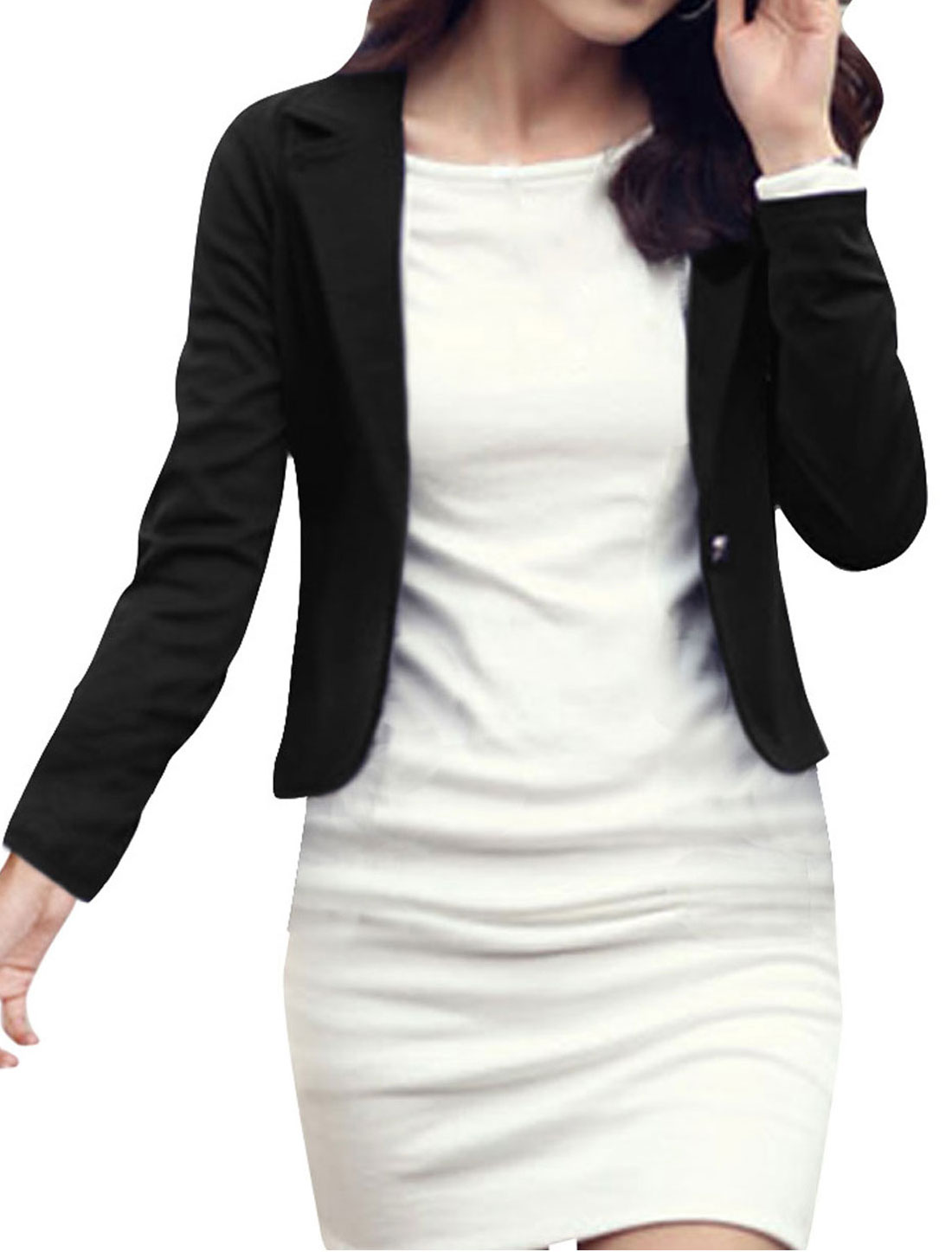 Black M Stylish Long Sleeve Elegant Blazer for Women