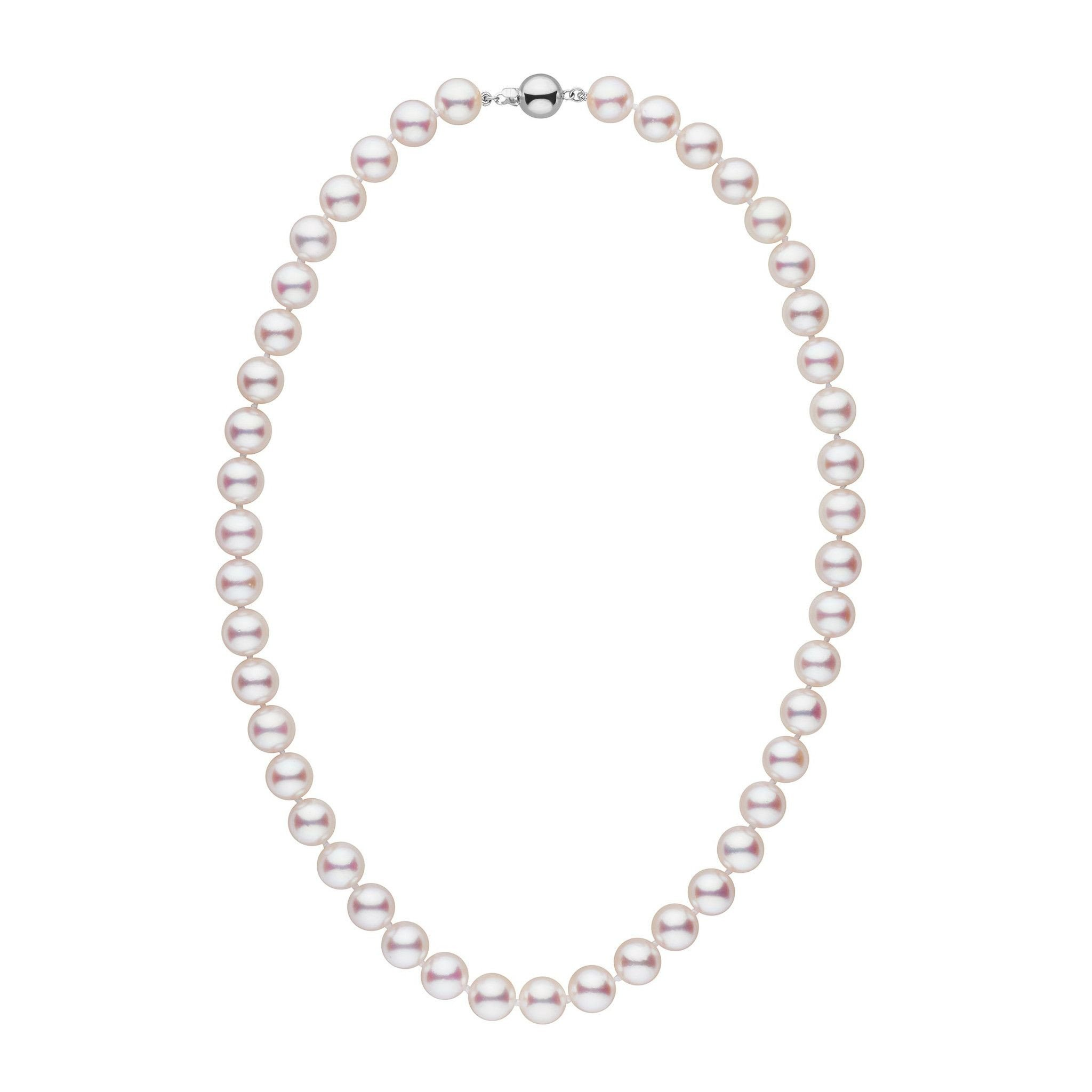 9.0-9.5 mm 18 Inch White Hanadama Akoya Pearl Necklace by Pearl Paradise