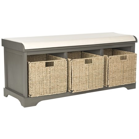 Safavieh Lonan 3 Wicker Basket Storage Bench with Cushion Top