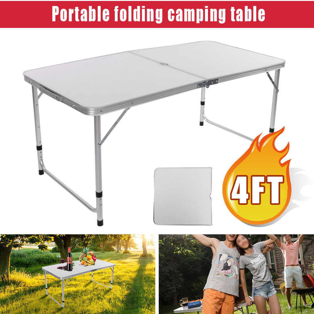 Click here to buy 4FT Folding Camping Table Aluminium Picnic Portable Adjustable Party BBQ Outdoor.