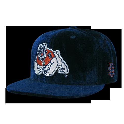 NCAA Fresno State U Bulldogs Flat Bill Velvet Snapback Baseball Caps Hats Navy