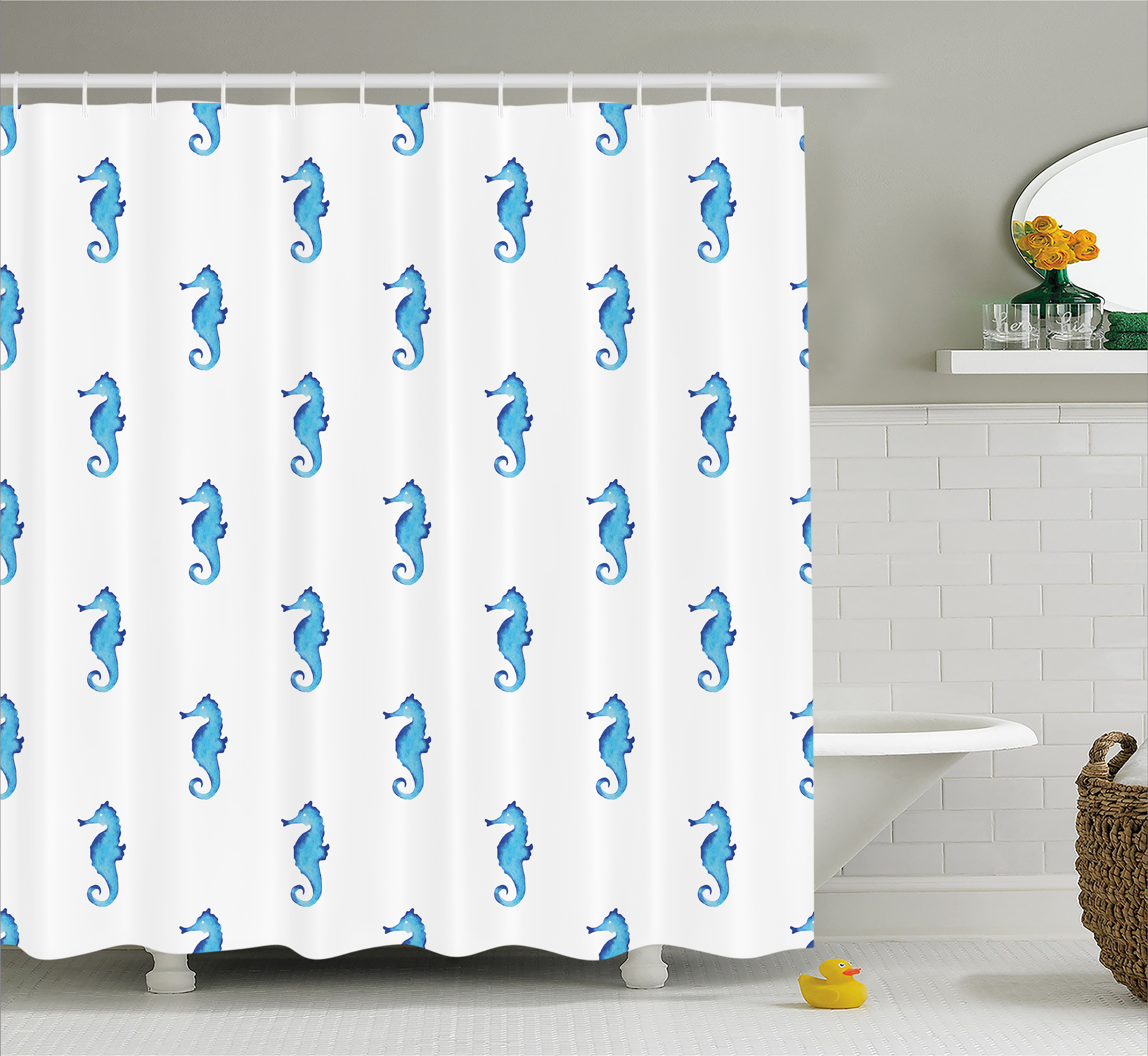 Animal Decor Shower Curtain, Unusual Equine Shaped Fish Motif in Simple Featured Backdrop Cottage, Fabric Bathroom Set with Hooks, 69W X 84L Inches Extra Long, Turquoise White, by Ambesonne