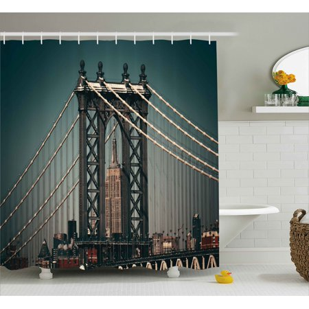 Scenery Decor Shower Curtain, City Lights Landscape View with Bridge Empire State Building Skyscrapes Picture, Fabric Bathroom Set with Hooks, 69W X 70L Inches, Black, by Ambesonne