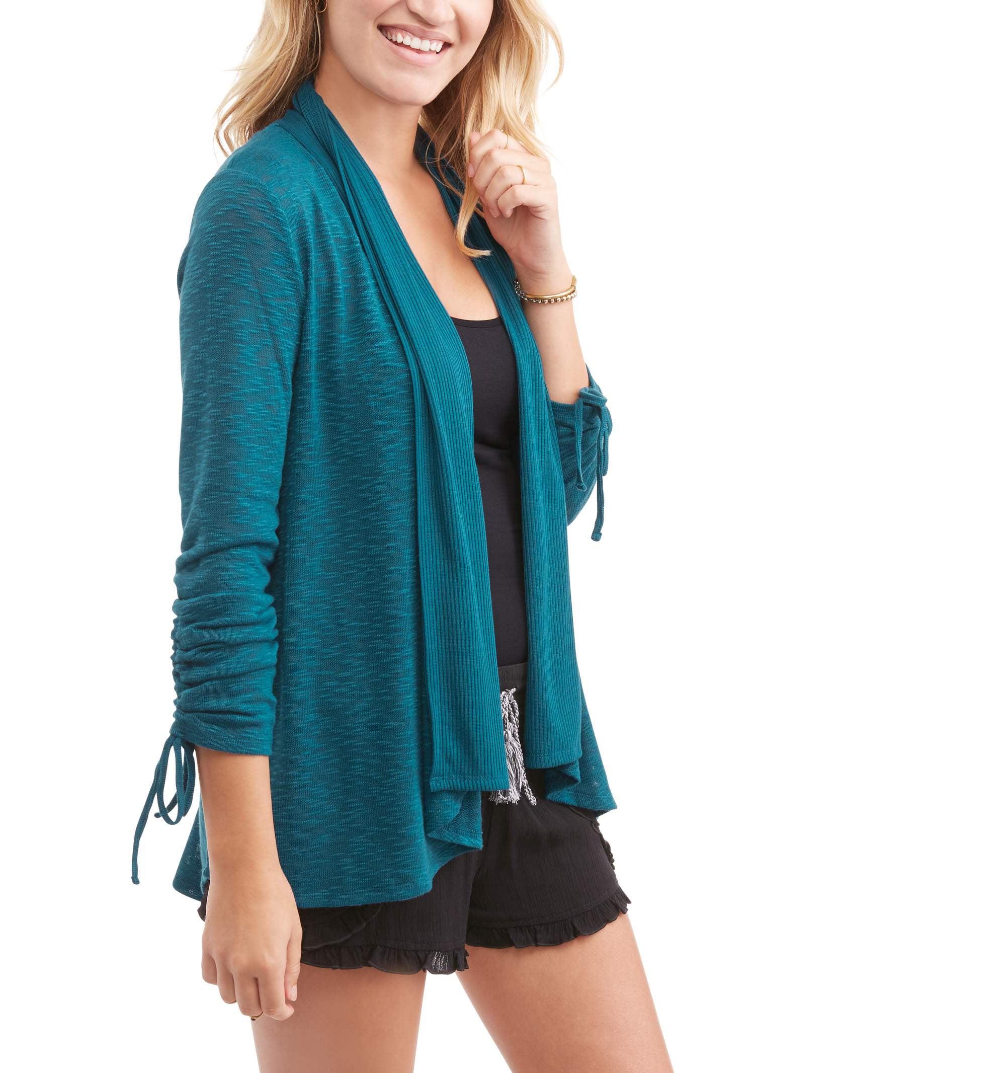 Generic No Boundaries Juniors' Lace Inset Back Long Sleeve Open Front Cardigan