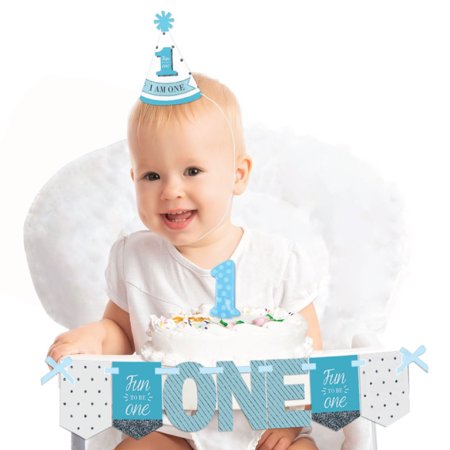 1st Birthday Boy - Fun To Be One 1st Birthday - First Birthday Boy Smash Cake Decorating Kit - High Chair Decorations - First Birthday Boys