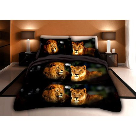 3D Bed Sheet Set Queen -4 Piece 3D Lions Head Printed Sheet Set Queen Size (Y15) - Soft, Breathable, Hypoallergenic, Fade Resistant -Includes 1 Flat Sheet, 1 Fitted Sheet, 2 Shams