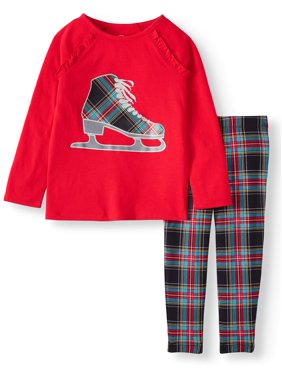 Wonder Nation Long Sleeve Ruffle Top and Printed Legging, 2-Piece Outfit Set (Little Girls & Big Girls)