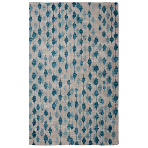 Ivy Bronx Victorine Pendant Contemporary Modern Blue/Ivory Area Rug