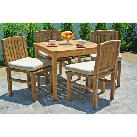willow creek huntington 5 piece square teak patio dining set. Black Bedroom Furniture Sets. Home Design Ideas