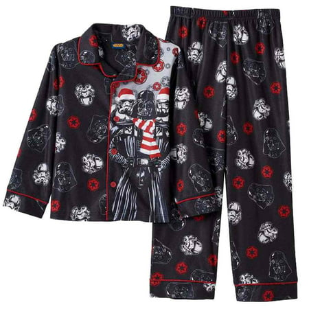 star wars boys black flannel christmas sleepwear darth vader pajama set 4 - Star Wars Christmas Pajamas