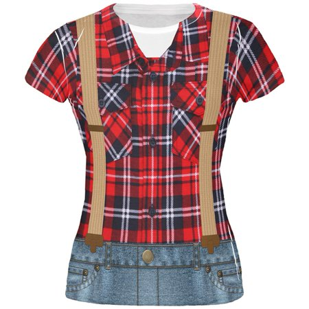 Halloween Lumberjack Costume All Over Juniors T Shirt](Lumberjack Woman Costume)