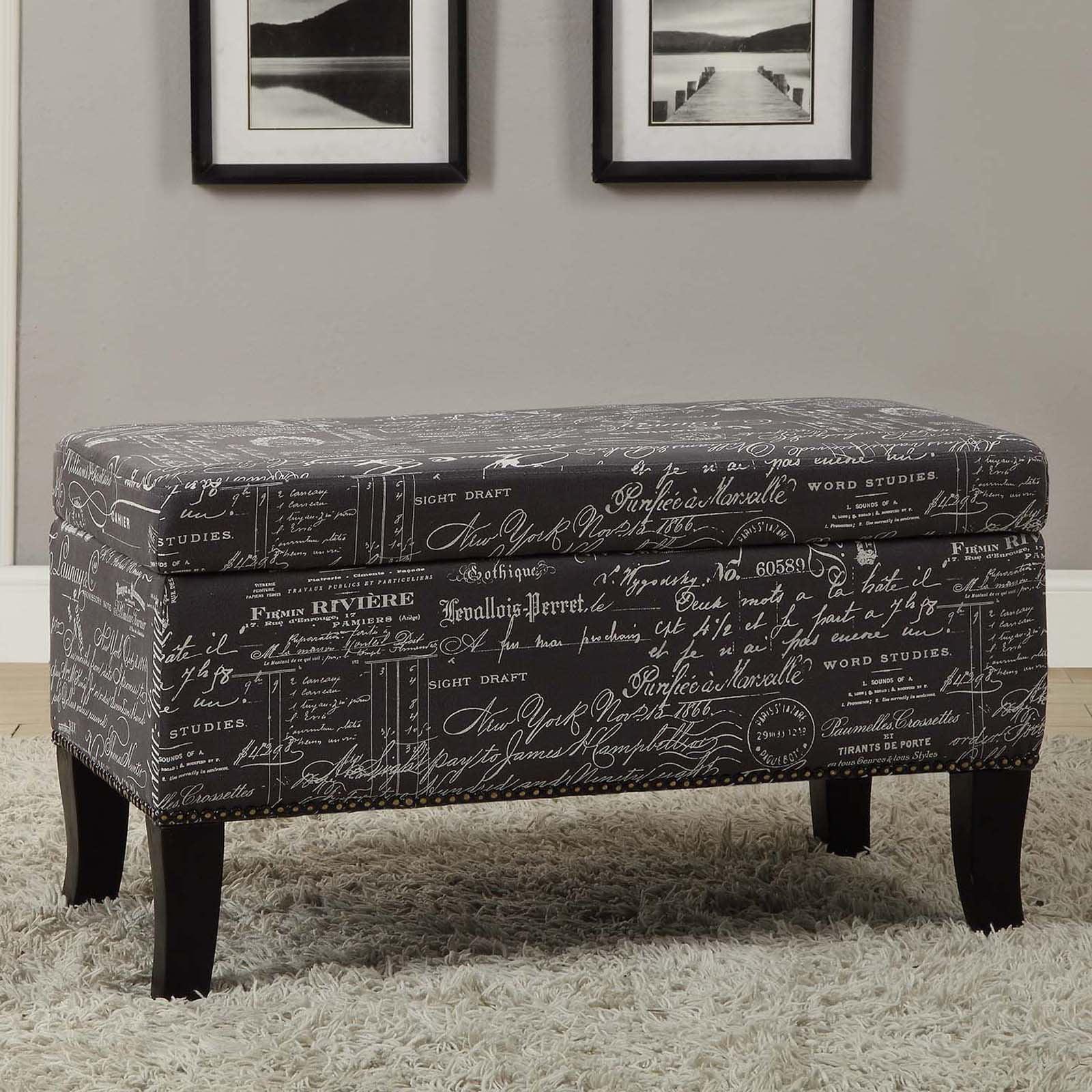 Linon Stephanie Ottoman Grey With Script 18 Inch High Walmartcom