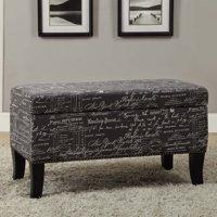Linon Stephanie Linen Bench/Ottoman, 18 inch High, Multiple Colors