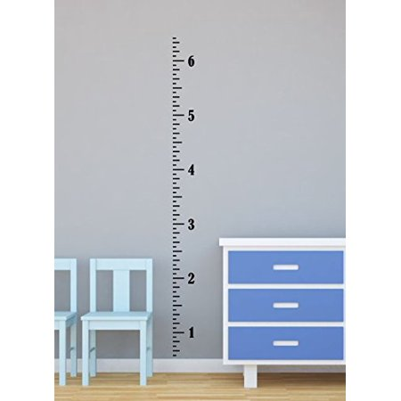 Wall Décor Plus More Vintage Ruler Oversized Plain Growth Chart Wall Decal Vinyl Stickers 6 Foot, Black