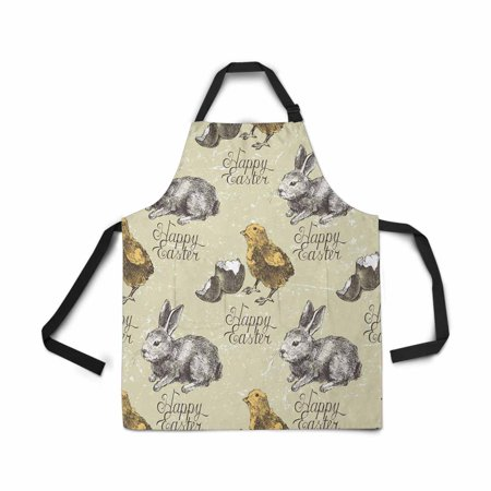 ASHLEIGH Adjustable Bib Apron for Women Men Girls Chef with Pockets Hand Drawn Easter Bunny Chick Novelty Kitchen Apron for Cooking Baking Gardening Pet Grooming Cleaning