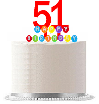 Item#051WCD - Happy 51st Birthday Party Red Cake Topper & Rainbow Candle Stand Elegant Cake Decoration Topper Kit