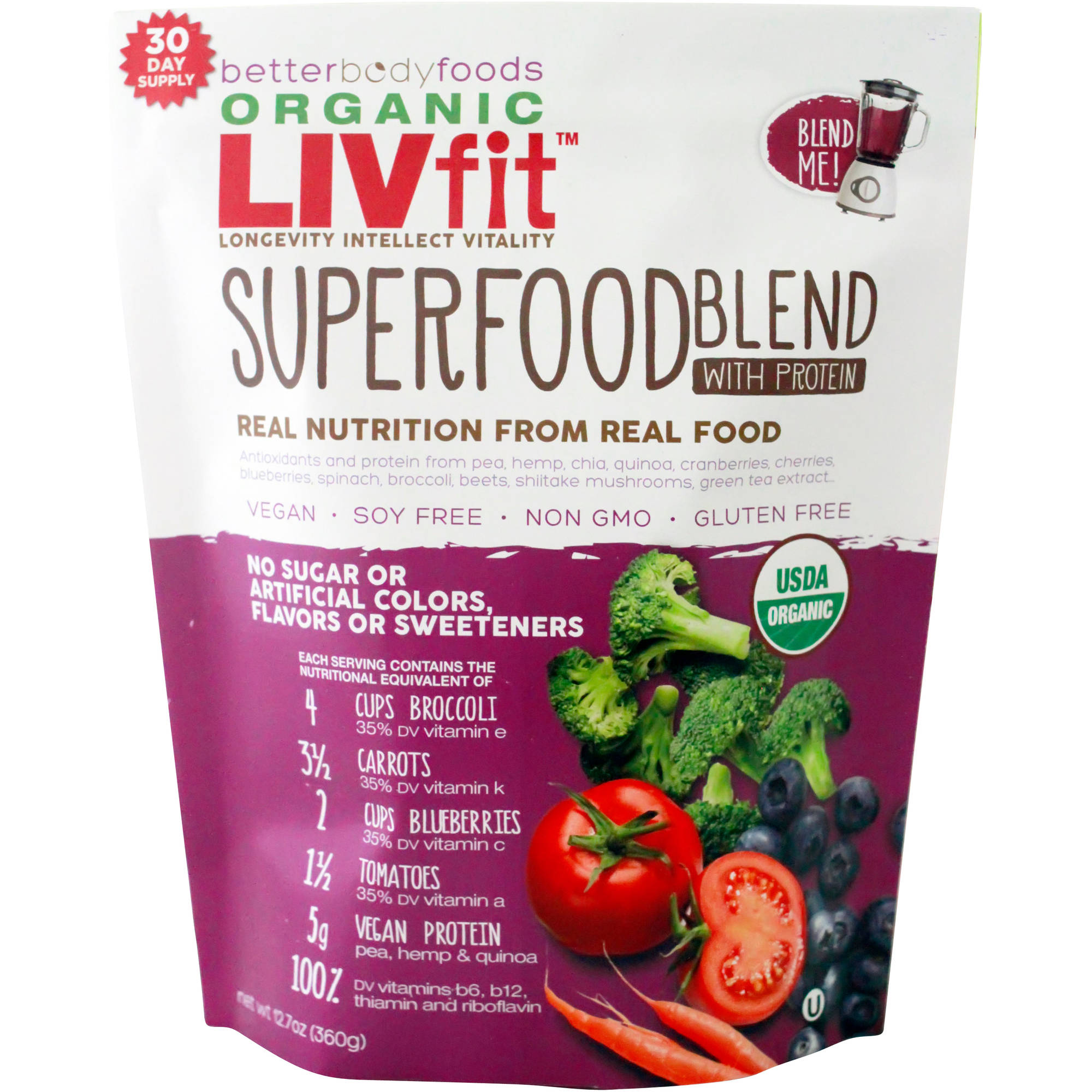 BetterBody Foods Organic LIVfit Superfood Blend with Protein, 12.7 oz