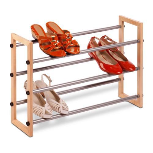 3-Tier Wood & Metal Shoe Rack