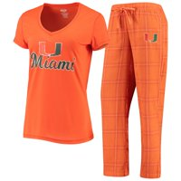 Miami Hurricanes Concepts Sport Women's Troupe V-Neck T-Shirt & Flannel Pants Sleep Set - Orange/White