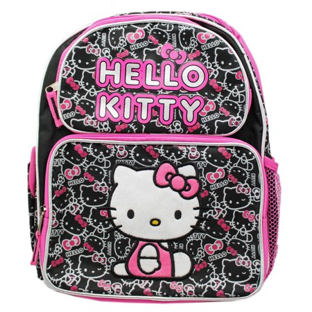 Sanrio's Hello Kitty Black/Pink Face Pattern Small Size Kids Backpack (12in) (Hello Kitty Kiss)