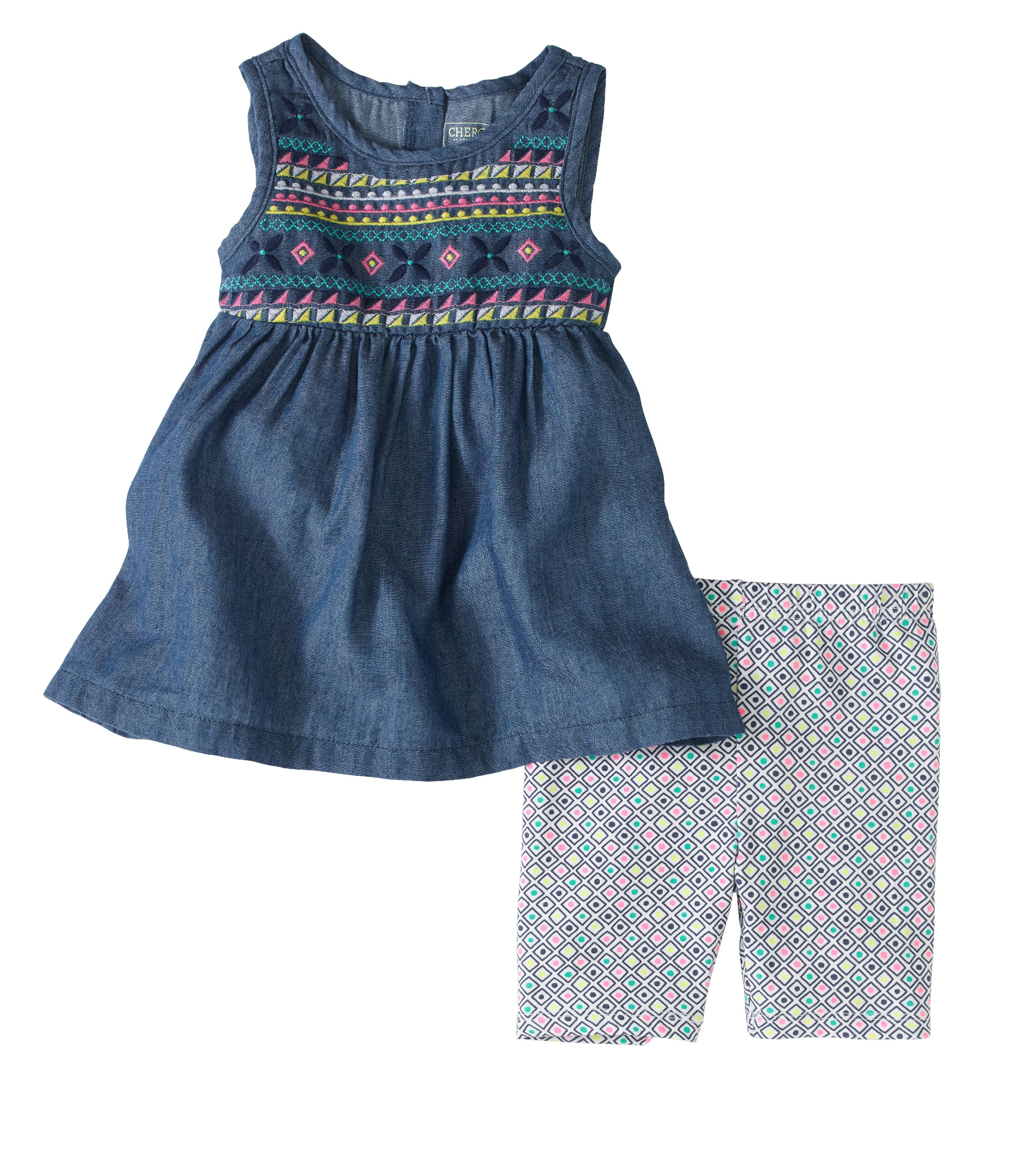 Toddler Girl Embroidered Tunic And Bike Short 2pc Set Walmart Com