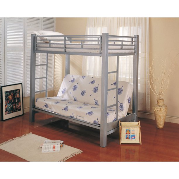 Coaster Multi Functional Twin Over Futon Bunk Bed In Glossy Silver Finish Walmart Com