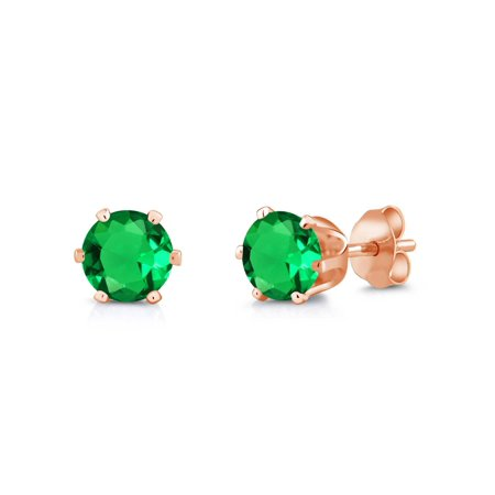 1.54 Ct Round 6mm Green Nano Emerald Brass Rose Gold Plated Brass Stud Earrings