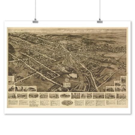 Goshen  New York   Panoramic Map  9X12 Art Print  Wall Decor Travel Poster