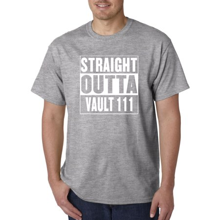 850 - Unisex T-Shirt Straight Outta Vault 111 Fallout 4 Game Medium Heather Grey ()