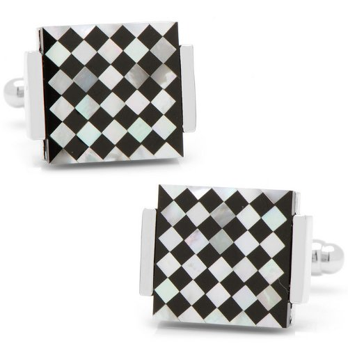 BL-2278-ONX Floating Onyx and Mother of Pearl Checkered Cufflinks