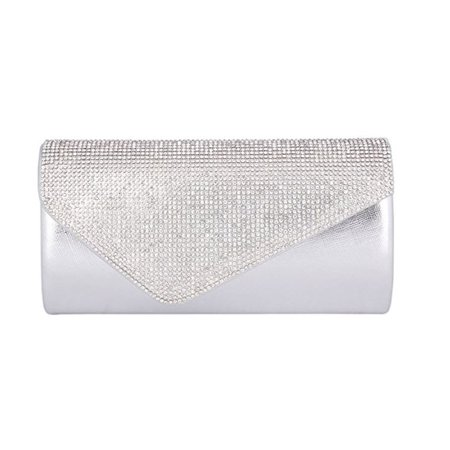 Chicastic Rhinestone Hard Envelope Wedding Evening Cocktail Clutch Purse - Silver