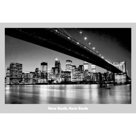 New York, New York (Night Skyline) Photo Print Poster - (New York Skyline Photo)