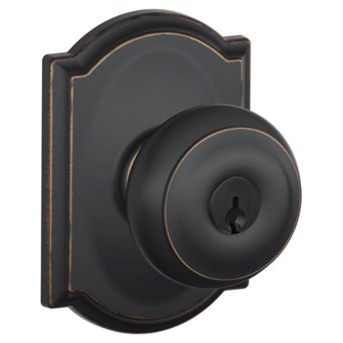 Schlage F51-GEO-CAM Georgian Keyed Entry F51A Panic Proof Door Knob with Camelot Rosette