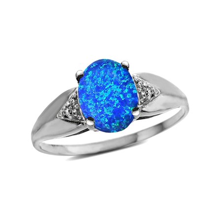 Trillion Setting (Star K Oval 9x7 Blue Created Opal trillion miracle setting wide band Ring )