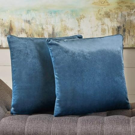 Aqua Boudoir Pillow - Noble House Isla Velvet Pillows, Set of 2, Aqua