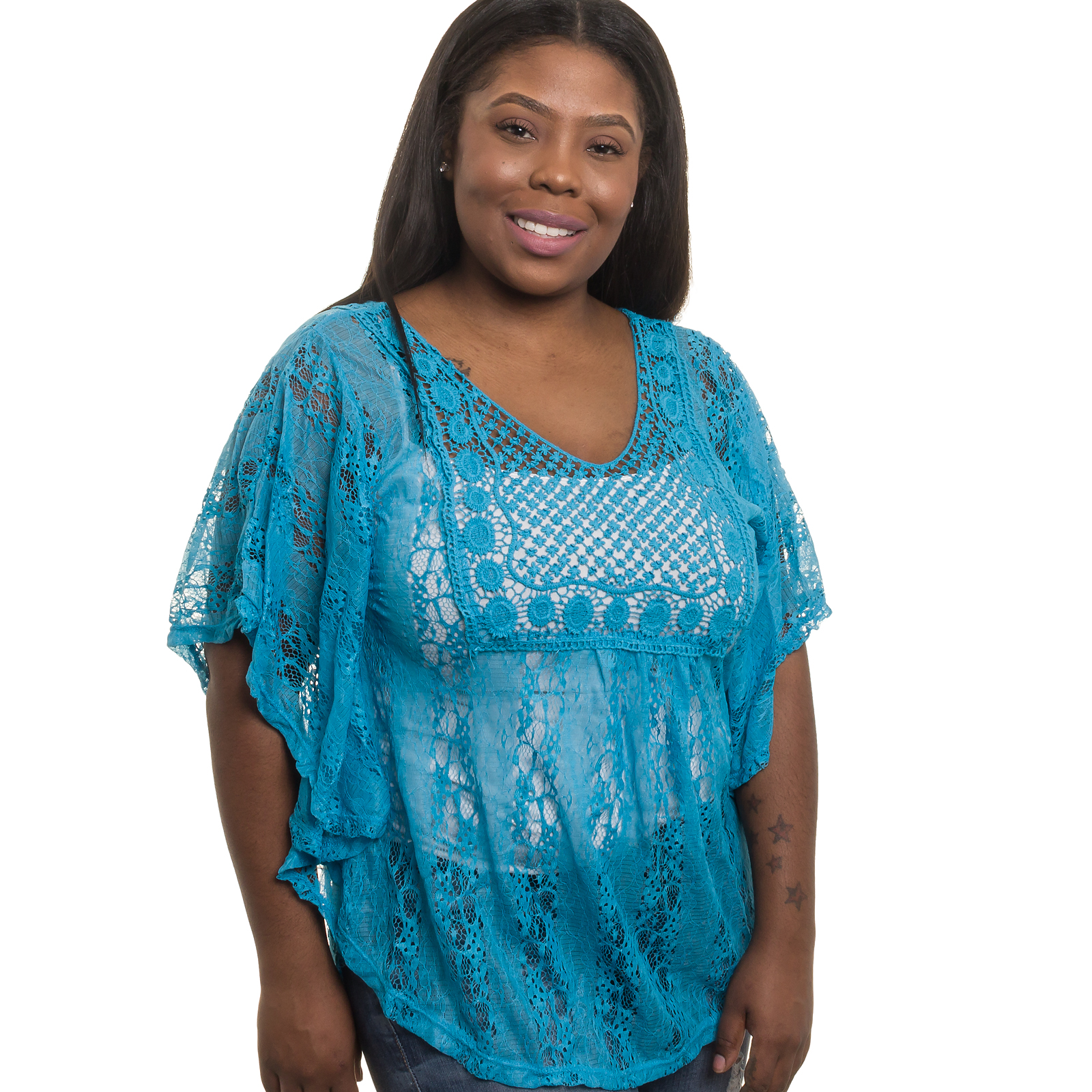 SILVER LILLY NEW Womens Junior Plus Size Sheer Crochet Lace Tank Top (BLU, 1X)