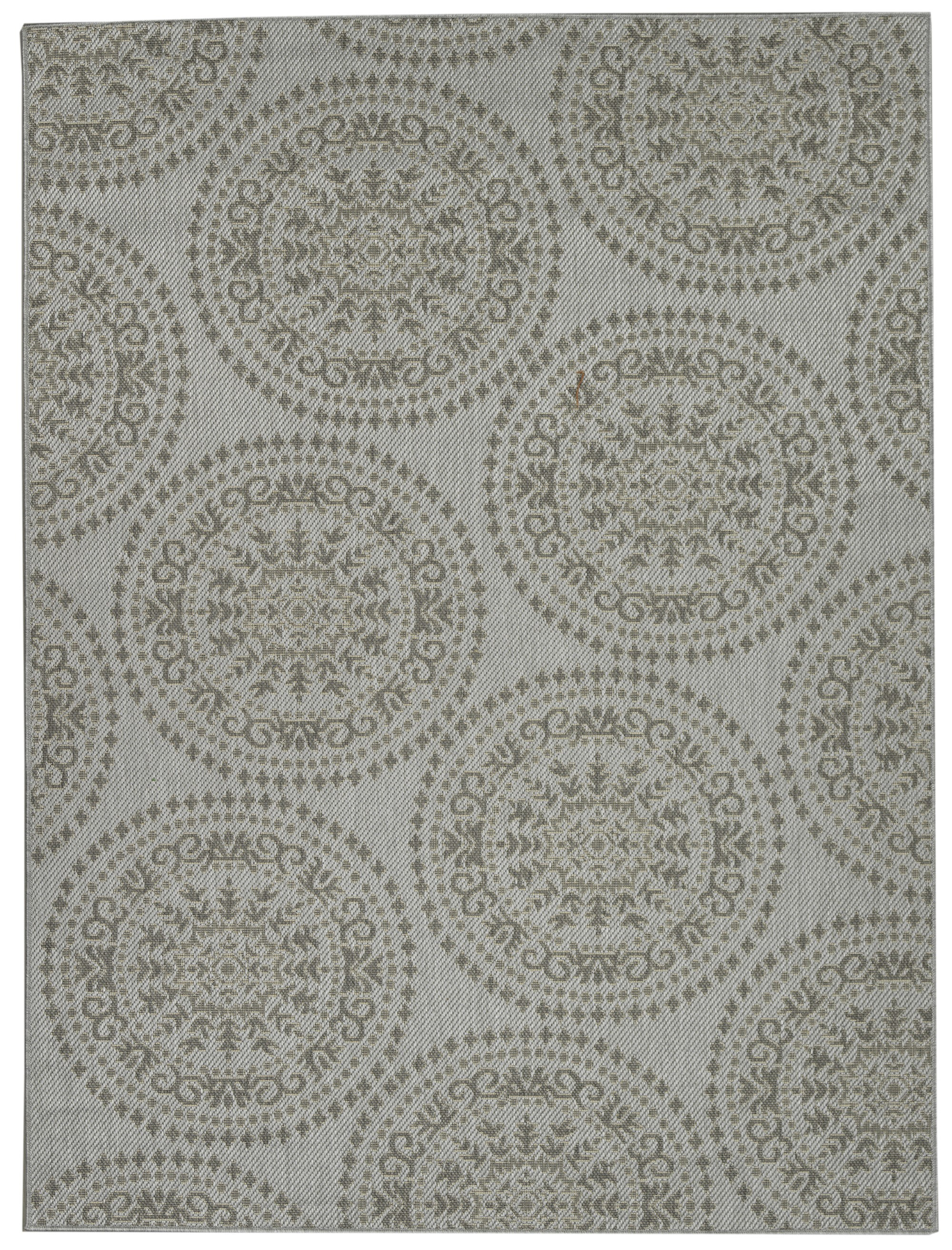 Ottomanson Jardin Collection Damask Medallions Indoor/Outdoor Jute Backing  Area Or Runner Rug Variations,
