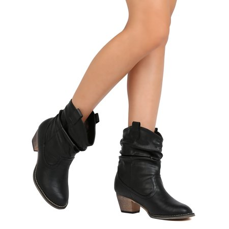 FH52 Women Leatherette Round Toe Slouchy Chunky Heel Cowboy Bootie - Tan
