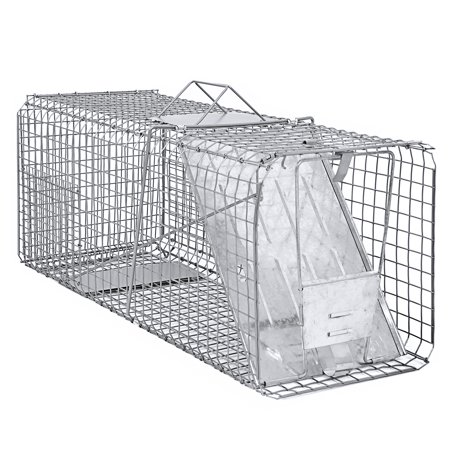Best Choice Products 31x12x12in Raccoon Skunk Rabbit Possum Humane Live Animal Trap Cage - Silver