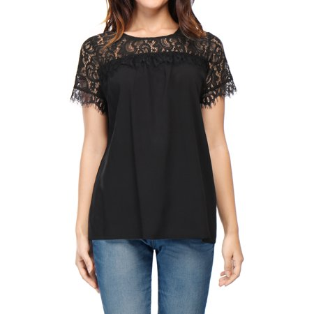 Women Lace Panel Upper Semi Sheer Yoke Short Sleeves Blouse