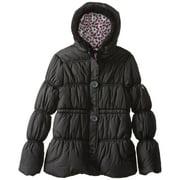 Pink Platinum Big Girls' Button-Placket Solid Puffer Winter Jacket Coat 7/8