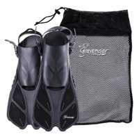 Seavenger Swim Fins / Flippers with Gear Bag for Snorkeling & Diving, Perfect for Travel Black L/XL