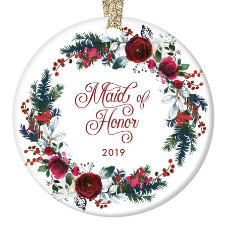 Maid of Honor Ornament 2019 Will You Be My Maid of Honor? Proposal Wedding Party Asking Bridal Marriage from Bride Christmas Present Ceramic 3