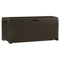 Suncast 73-Gallon Deck Box - Resin Indoor/Outdoor Storage Container and Seat for Patio, Garage, Yard - Mocha Brown